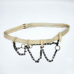Vintage Haute Cream Toned Suede Leather Bronze Chain Belt